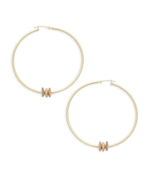 "Saks Fifth Avenue - London Blue Topaz, White Topaz And 14k Gold Hoop Earrings/2"" - Lyst"