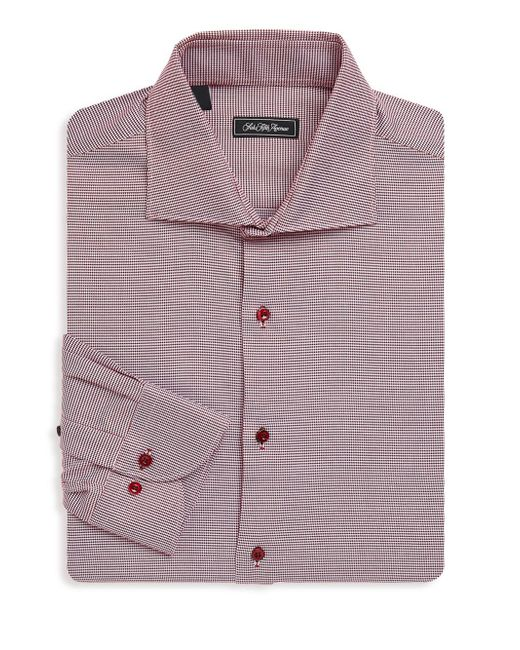 Saks Fifth Avenue - Red Spread-collar Plaid Cotton Dress Shirt for Men - Lyst