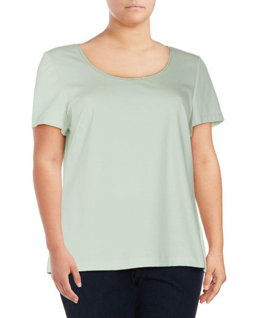 Lafayette 148 New York - Green Plus Short-sleeve Scoopneck Top - Lyst