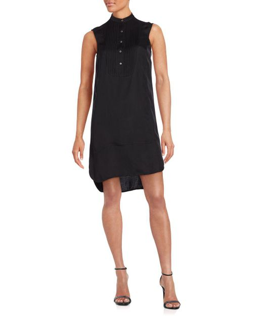 ATM - Black Sleeveless Tuxedo Dress - Lyst