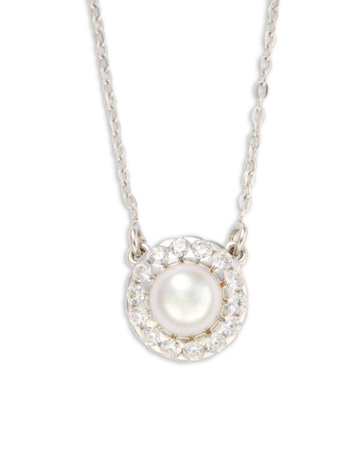 Majorica | 6mm White Pearl & Sterling Silver Halo Pendant Necklace | Lyst