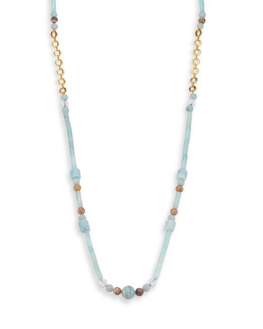Stephanie Kantis - Lavish Blue Amazonite, Fossil Coral & White Quartz Beaded Long Necklace - Lyst
