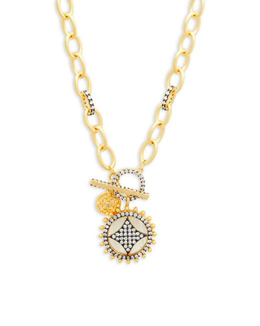 Freida Rothman - Metallic Mother-of-pearl, Crystal And Sterling Silver Wheel Cage Pendant Necklace - Lyst