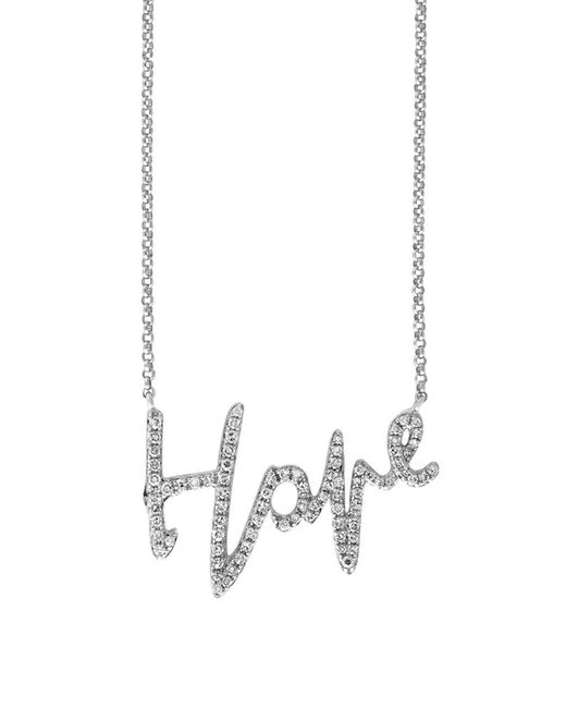 Effy - Metallic Novelty Diamond And 14k White Gold Hope Necklace - Lyst