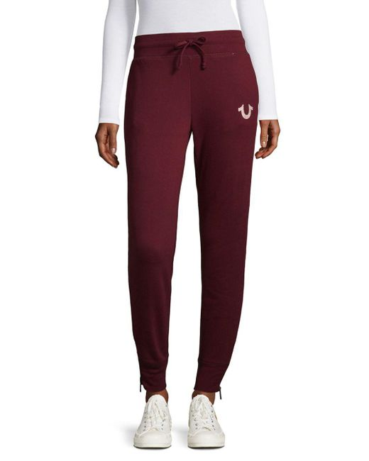True Religion | Purple Zippered Jogger Pants | Lyst