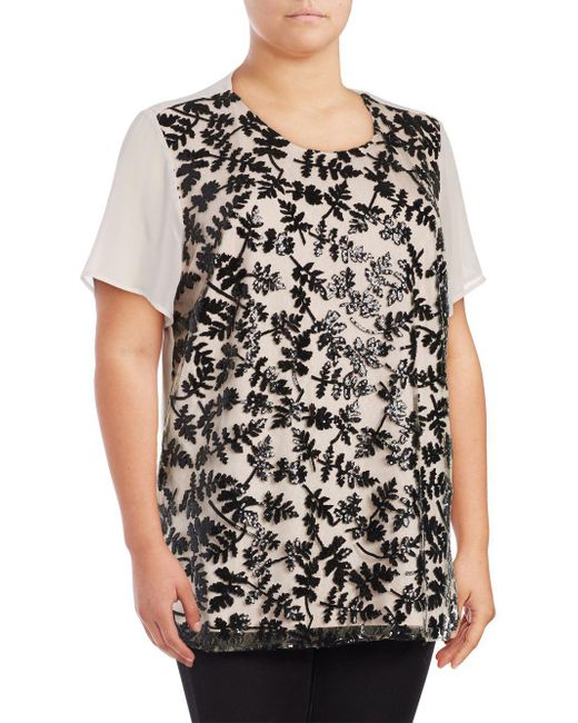 Chaus New York | Black Short Sleeve Sequined Embroidered Blouse | Lyst