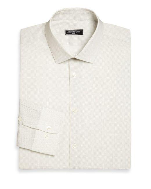 Saks Fifth Avenue - White Slim-fit Printed Dress Shirt for Men - Lyst