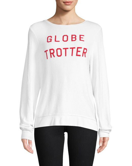 Wildfox - White Globe Trotter Long-sleeved Top - Lyst
