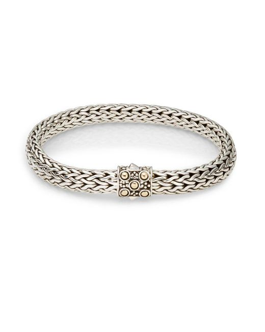 John Hardy - Metallic Dot Sterling Silver & 18k Yellow Gold Bracelet - Lyst
