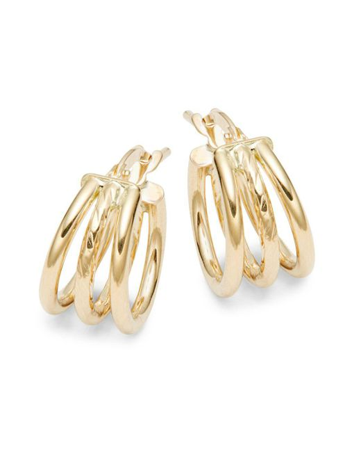 Saks Fifth Avenue - Metallic 14k Gold Triple Hoop Earrings - Lyst