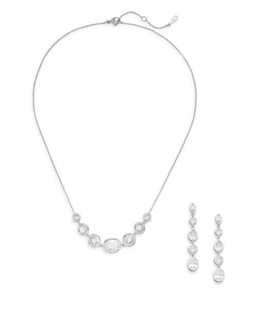 Adriana Orsini   Metallic White Stone Necklace & Earrings Gift Box Set/silvertone   Lyst