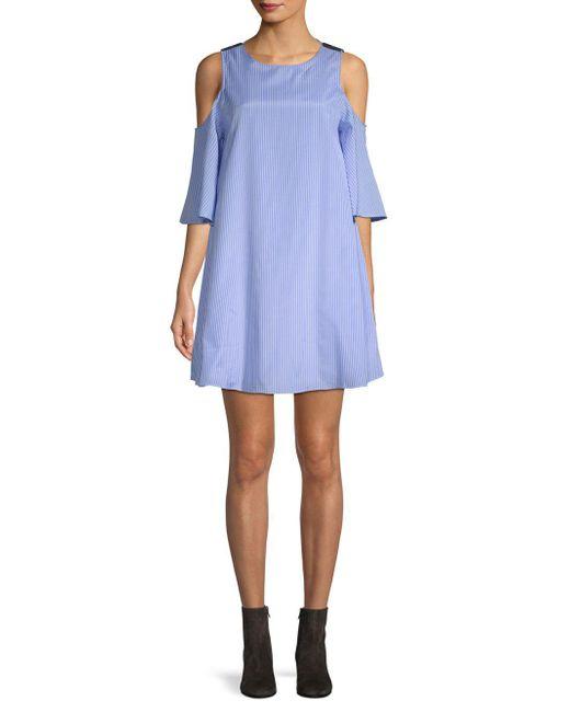 English Factory - Blue Striped Cold-shoulder Mini Dress - Lyst