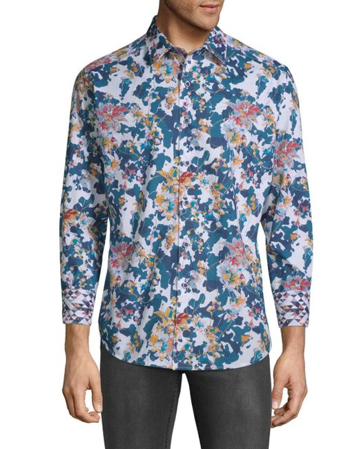 Robert Graham - Blue Paril Creek Printed Cotton Button-down Shirt for Men - Lyst