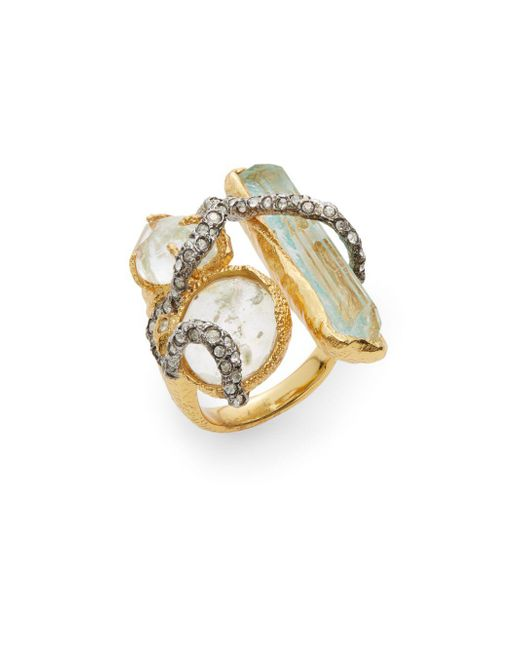 Alexis Bittar - Metallic Elements Moonlight Crystal Vine Three-stone Ring - Lyst