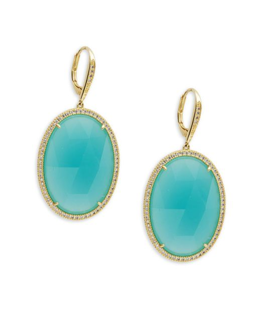 Saks Fifth Avenue | Green Goldtone Cubic Zirconia Earrings | Lyst