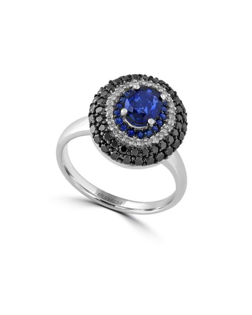 Effy - Metallic Diamond, Sapphire And 14k White Gold Ring, 1.02 Tcw - Lyst