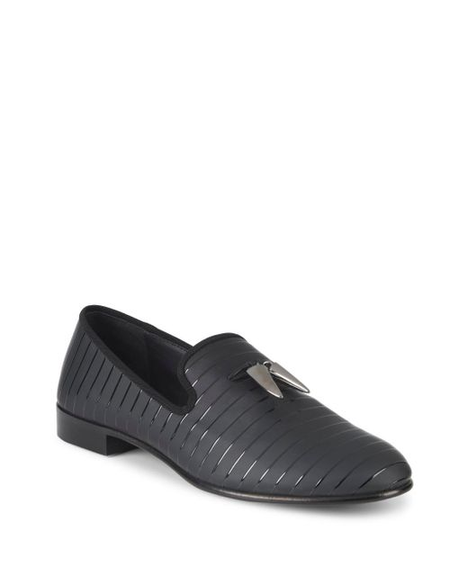 Giuseppe Zanotti - Black Stripe & Horn Smoking Slippers for Men - Lyst
