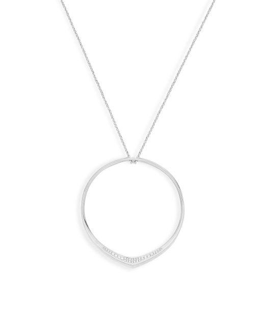 11aad3e59de6e MICHAEL Michael Kors - Metallic Silvertone Crystal Circle Pendant Long  Necklace - Lyst ...