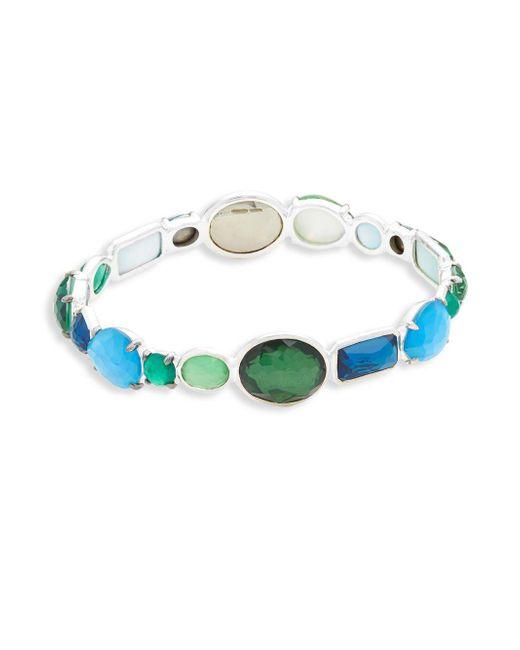 Ippolita - Metallic Wonder Clear Quartz And Green Agate All-stone Taffeta Bangle - Lyst