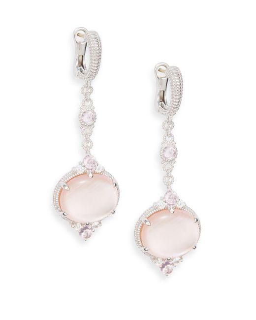 Judith Ripka | Metallic Allure White Sapphire, Rock Crystal, Pink Corundum, Pink Mother-of-pearl & Sterling Silver Drop Earrings | Lyst