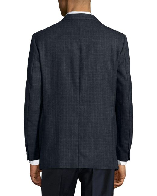 4c90412082fa8 ... Saks Fifth Avenue - Blue Regular-fit Tonal Windowpane Wool Sportcoat  for Men - Lyst