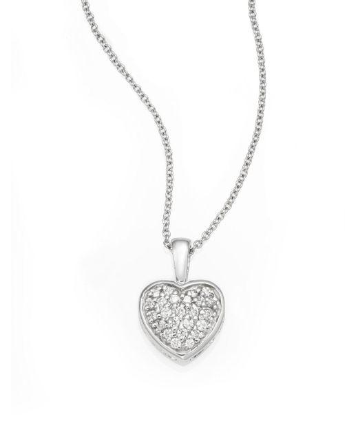 Effy   Metallic Diamond & 14k White Gold Heart Pendant Necklace   Lyst