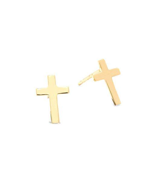 Saks Fifth Avenue | Metallic 14k Yellow Gold Cross Earrings | Lyst