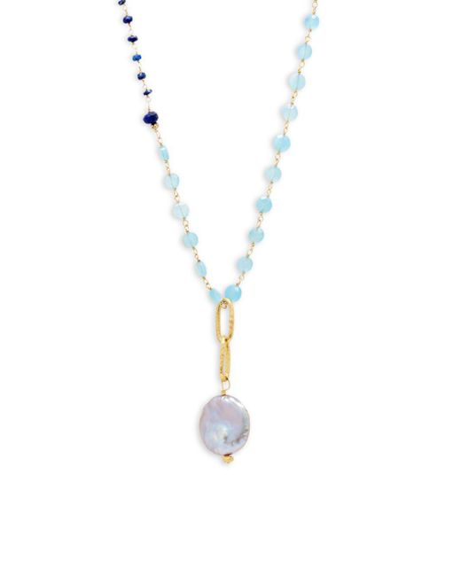 Alanna Bess - Blue Faux Pearl Pendant Necklace - Lyst