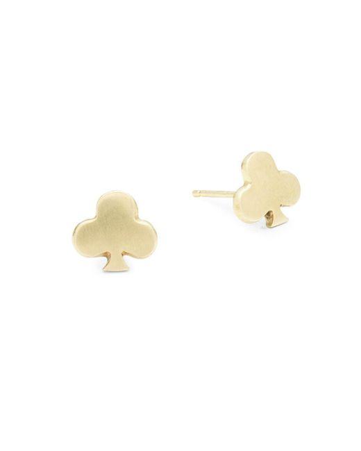 Alex Woo   Little Vegas 14k Yellow Gold Club Stud Earrings   Lyst
