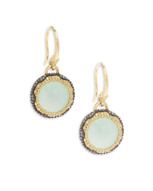 Armenta   Metallic Old World White Diamond, Chrysoprase, Moon Quartz & 18k Goldplated Sterling Silver Drop Earrings   Lyst