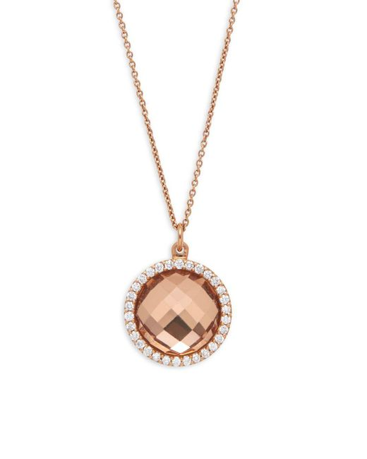 Roberto Coin - Brown Diamond, Crystal And 18k Gold Round Pendant Necklace - Lyst