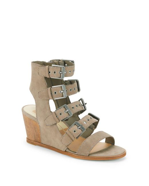 Dolce Vita - Gray Laken Leather Wedge Cage Sandals - Lyst