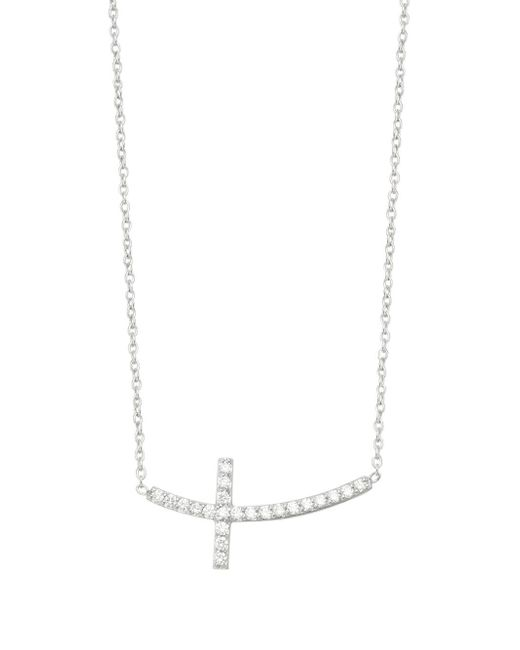 KC Designs - Metallic Diamond 14k White Gold Side Cross Necklace - Lyst