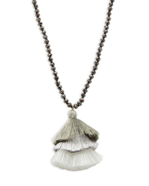 Panacea - Metallic Beaded Tassel Pendant Necklace - Lyst