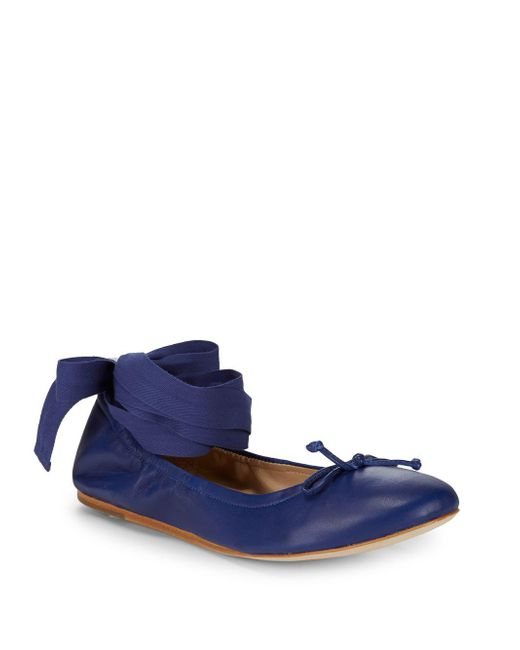 Saks Fifth Avenue - Blue Ribbon Leather Ballet Flats - Lyst