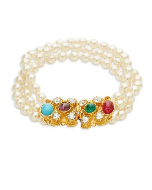 Ben-Amun - Metallic Crystal And Faux Pearl Bracelet - Lyst