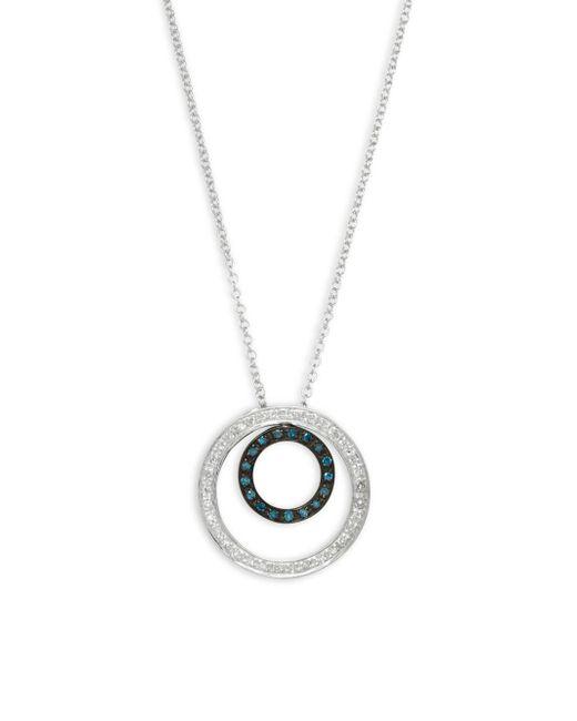 Effy - White Diamond, Black Diamond, Blue Diamond And 14k White Gold Necklace - Lyst