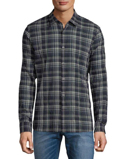 John Varvatos - Blue Mayfield Plaid Casual Button-down Shirt for Men - Lyst