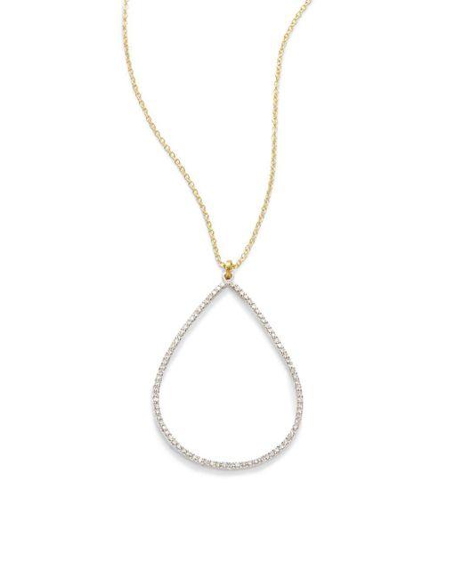 Gurhan - Metallic 24k Yellow & White Gold Teardrop Pendant Necklace - Lyst