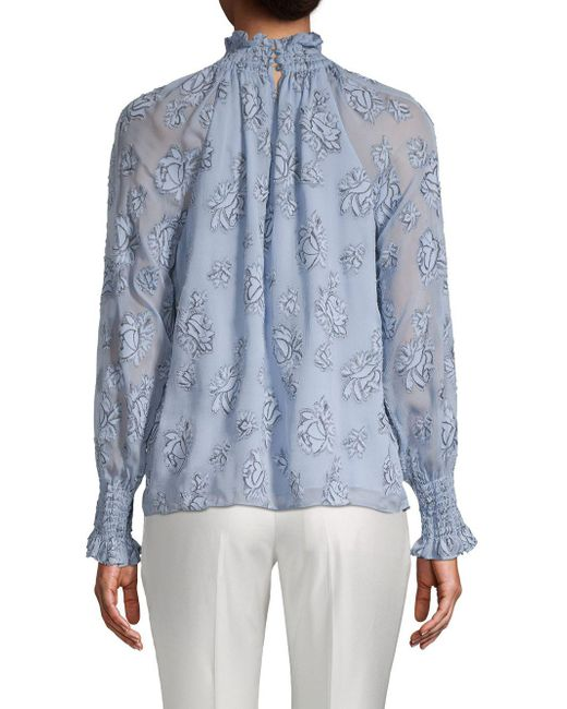 bccfbc9fcf91f Lyst - Rebecca Taylor Mockneck Long Sleeve Floral Top in Blue - Save 58%