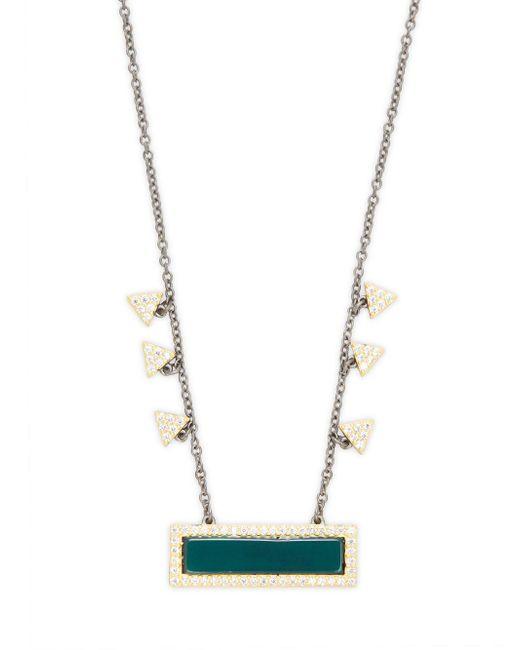 Freida Rothman - Green Semiprecious Stone Bar Pendant Necklace - Lyst