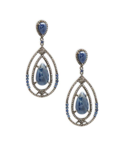 Bavna | Metallic Champagne Diamond, Blue Sapphire & Sterling Silver Rose Cut Earrings | Lyst