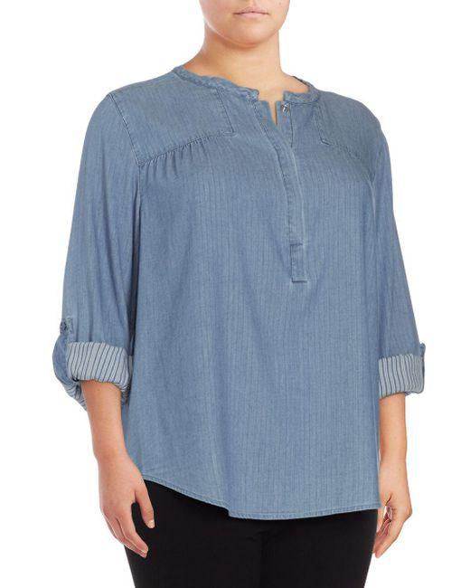 NYDJ - Blue Plus Tessa Long-sleeve Cotton Top - Lyst