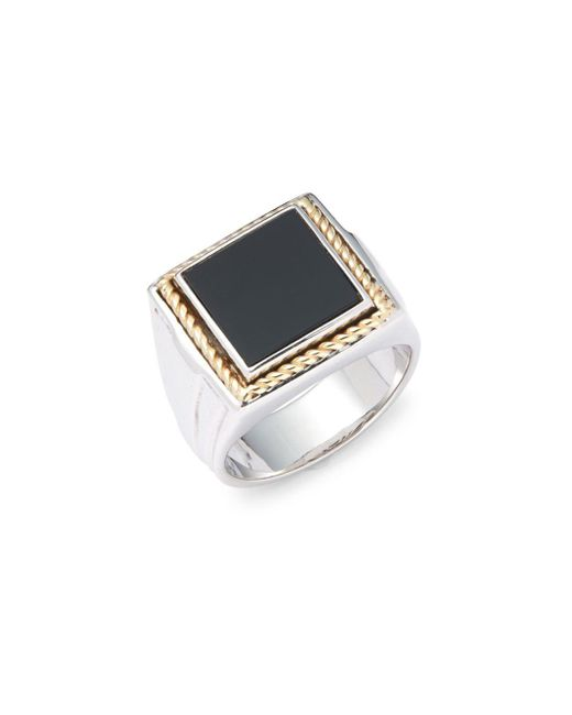 Effy - Metallic Onyx, Twisted 18k Yellow Gold & 925 Sterling Silver Ring - Lyst