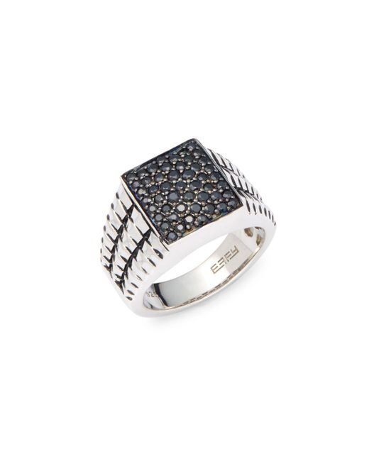 Effy - Metallic 925 Sterling Silver & Black Sapphire Ring - Lyst