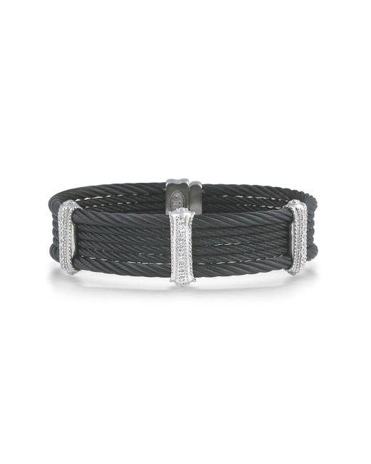 Alor - Black Noir Cable Stainless Steel And 18k White Gold Multi-strand Bracelet - Lyst