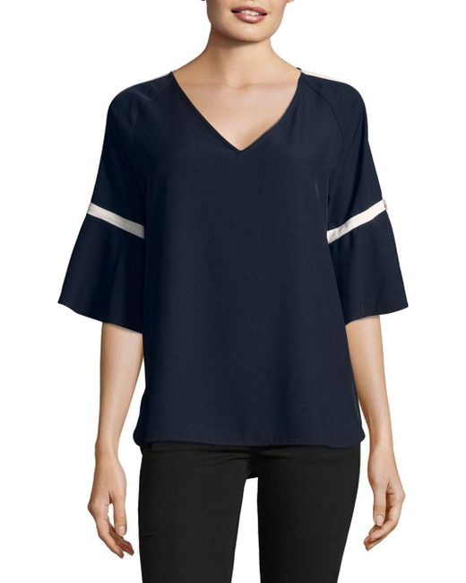 CALVIN KLEIN 205W39NYC - Blue Contrast Trim Short-sleeve Top - Lyst