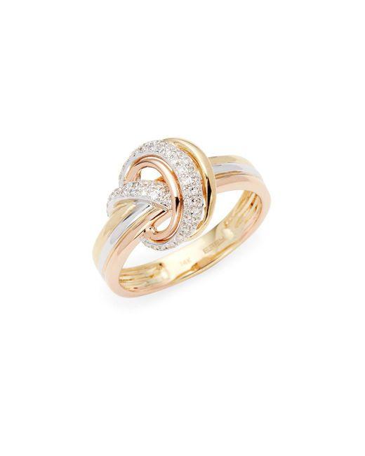Effy - Metallic Tri-tone 14k Gold & Diamond Band Ring - Lyst