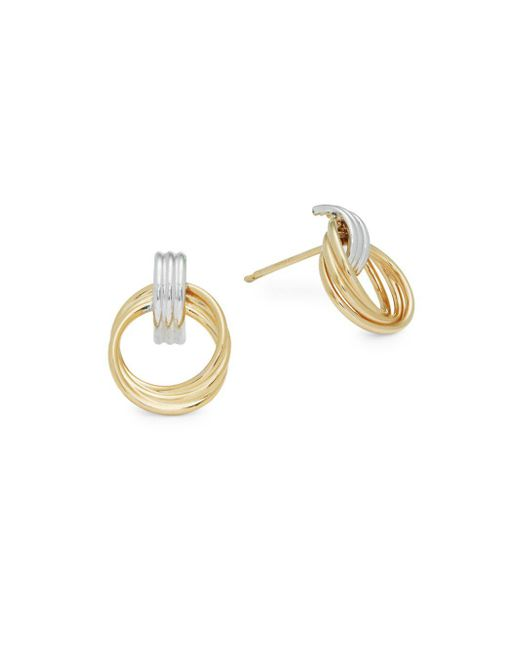 Saks Fifth Avenue - Metallic Two-tone Gold Doorknocker Earrings - Lyst