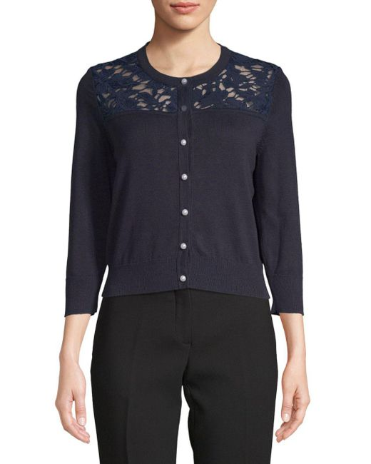 Karl Lagerfeld - Blue Lace Quarter-sleeve Cardigan - Lyst